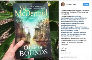 Val McDermid Out of Bounds trees flat lay with hashtags