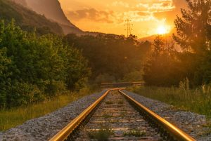 Railway track at sunrise
