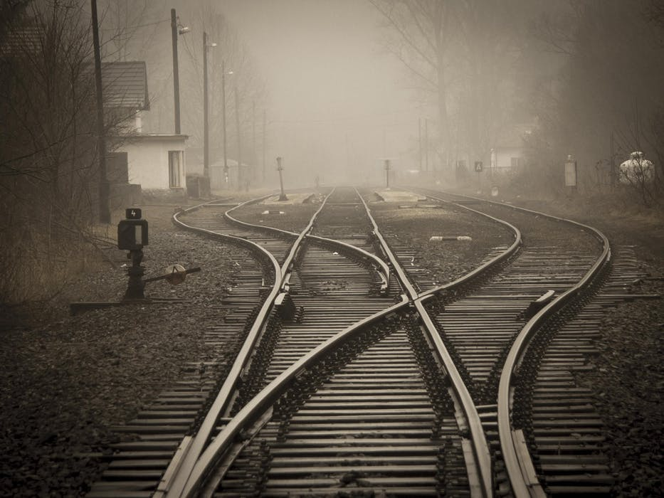 Railway tracks and junction in fog