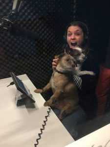 Narrator Alison Campbell with dogs in studio