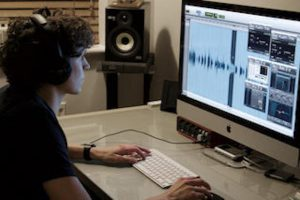 Producer Dave in the audiobook studio