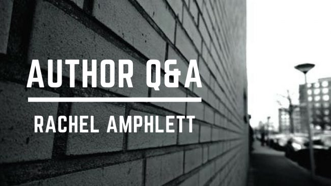 Image shows a black and white photograph of a brick wall alongside a street with the words Author Q&A superimposed across the wall