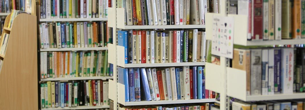 Image shows large print edition books on library shelves