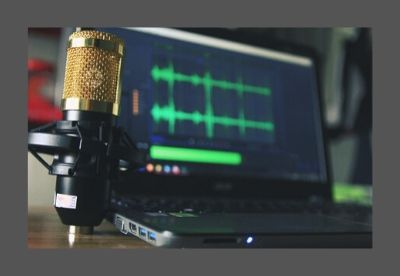 Image shows a microphone beside a laptop computer with green audio waves displayed on the screen
