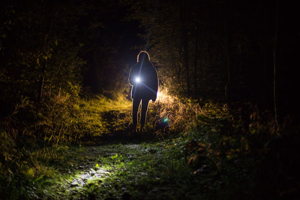 Image shows a figure at night holding a torch walking over grass towards the camera
