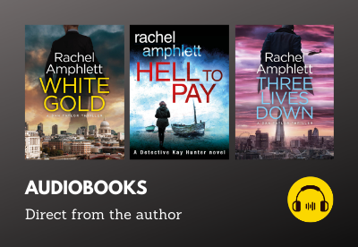 Audiobook covers for White Gold, Hell to Pay and Three Lives Down with headphones icon