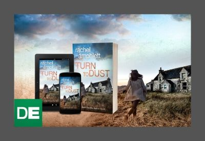 Composite image showing the cover for Turn to Dust in print, on a tablet and on a smartphone against a backdrop of the cover
