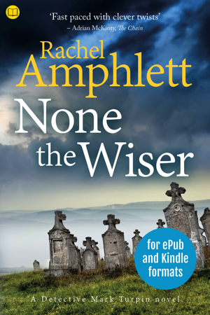 Cover image for None the Wiser with a book icon in the top left corner