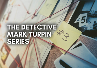 Image shows a mock up of a detective's evidence board with red string, sticky notes and photographs pinned to it