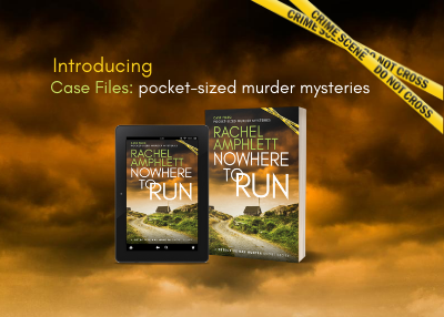 Banner image for Nowhere to Run with criss-crossed yellow crime scene tape in top right hand corner