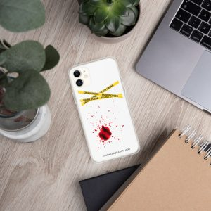 Image shows phone cover case with yellow crime scene tape and blood splatter with rachelamphlett.com in text underneath