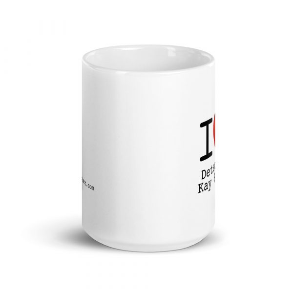 Image shows coffee mug with a big red heart and the text I (heart) Kay Hunter
