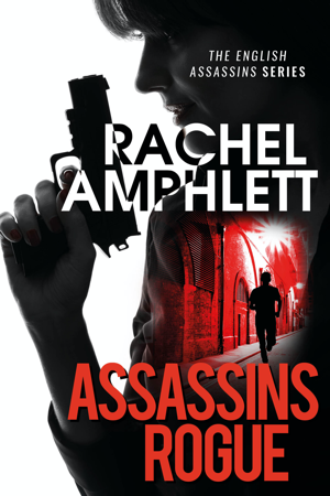 Female assassin holding a gun in shadow against a red title