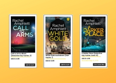 Image shows a selection of eBooks and audiobooks available from Rachel Amphlett's website shop