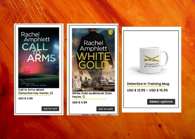 Image shows a sample selection of Rachel Amphlett's eBooks, audiobooks and merchandise available from her website shop