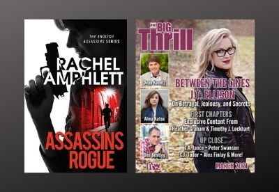 Image shows the book cover for Assassins Rogue next to the front cover of The Big Thrill magazine March 2021 edition