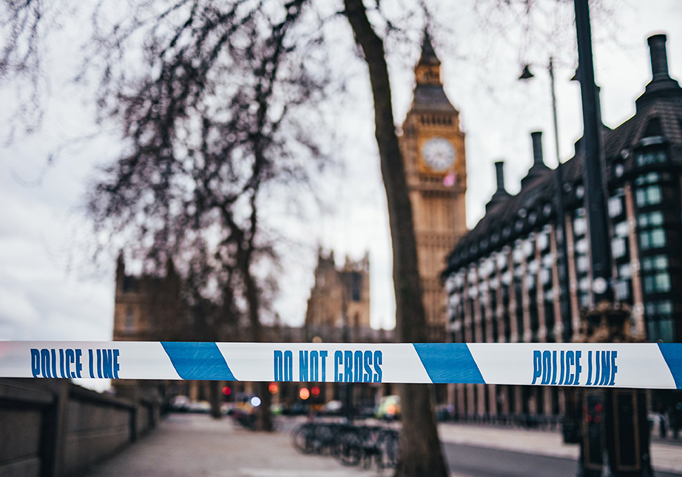 Photo of London England and Police Line Tape