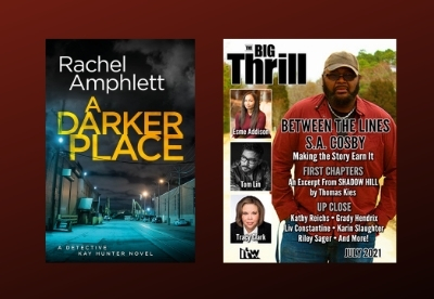 Image shows the cover of A Darker Place beside the July 2021 edition of The Big Thrill magazine