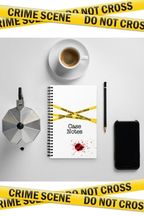 Image shows example of a notebook from Rachel's merchandise store with crime scene tape header and footer